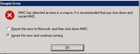 Error: MMC has detected an error in a snap-in  It is