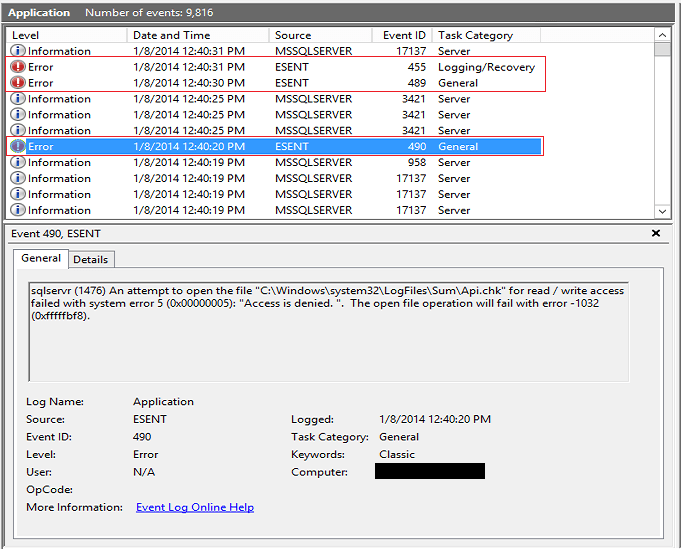Workaround for Error 1032 Related to Event ID 455,489 and 490 on SQL