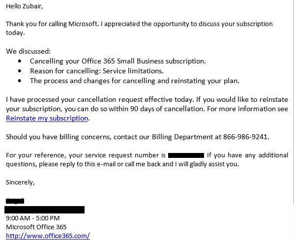 microsoft office billing phone number