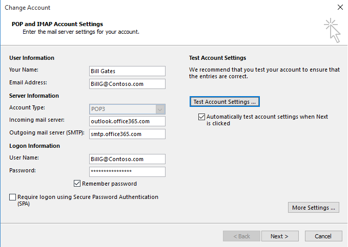 How to configure pop in outlook alexander 39 s blog - Office 365 server settings outlook ...