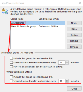 how to setup auto send receive in outlook 2016