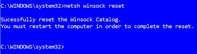 what is netsh winsock reset windows 10