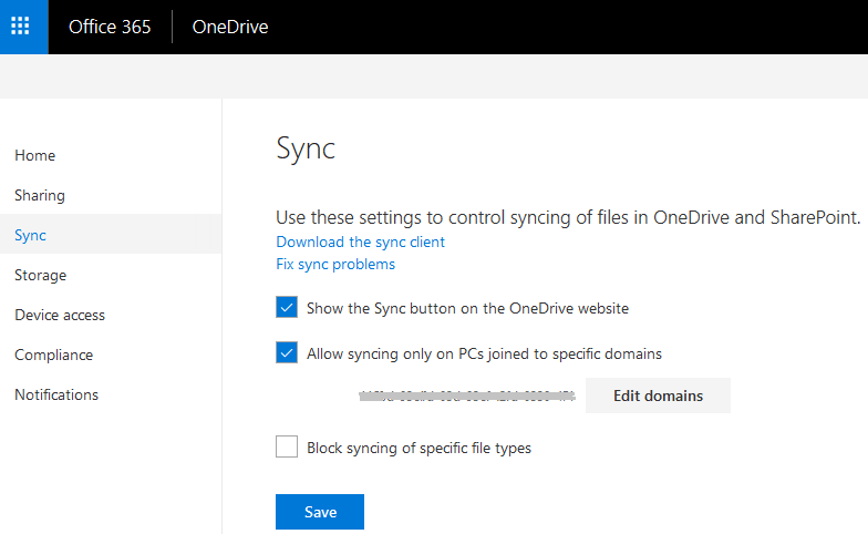 Allow Syncing Only on PCs Joined to Specific Domains in Office 365