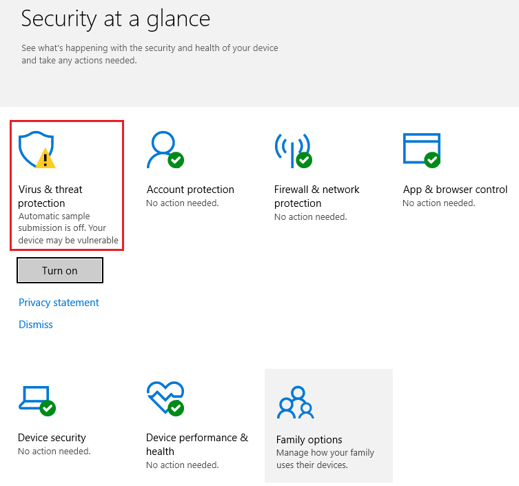 Unexpected Yellow Warning Symbol on Windows Defender in