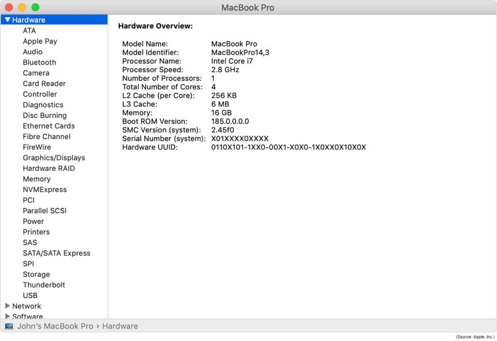 MacBook Pro System Info